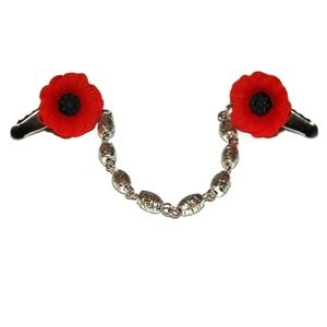 Red Poppy Flower Sweater Clips 1950s Pin Up Retro